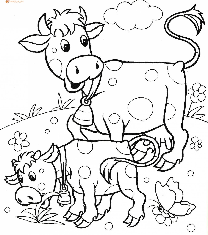 Раскраски корова и теленок