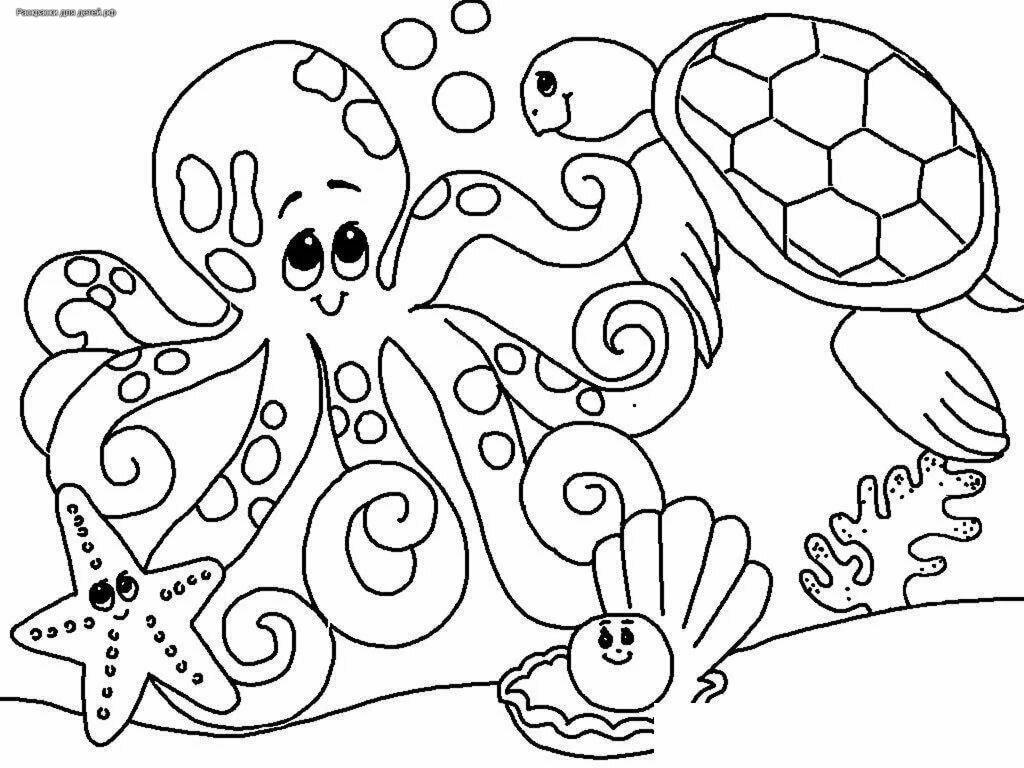 Раскраски осьминожек