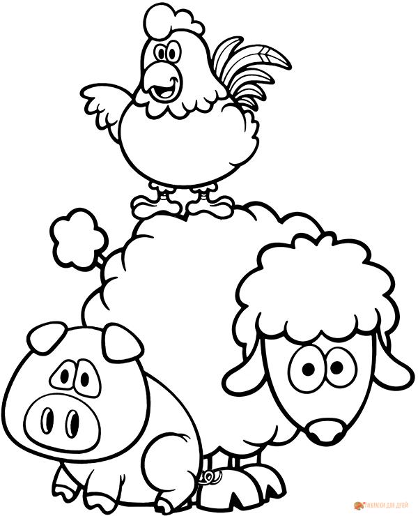 Раскраска животных с фермы